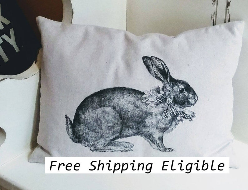 Bunny Rabbit Pillow Cover or Complete Pillow canvas pillow image 0
