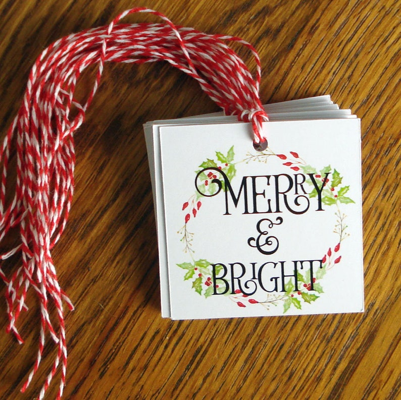 Christmas Gift Tags Merry & Bright Watercolor Holly Berry image 0