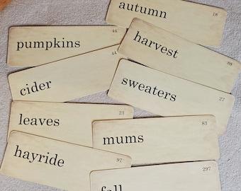 Fall Flash Cards Distressed Vintage Style Set of 9 Large Size hayride pumpkins cider leaves autumn harvest sweaters mums