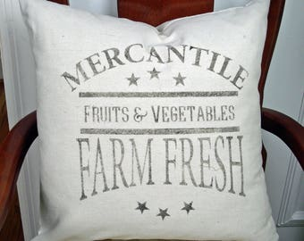 Farmhouse Pillow Cover or Complete Pillow, Farm Fresh sign, canvas pillow, graphic pillow,  Fixer Upper decor, cottage chic, shabby style