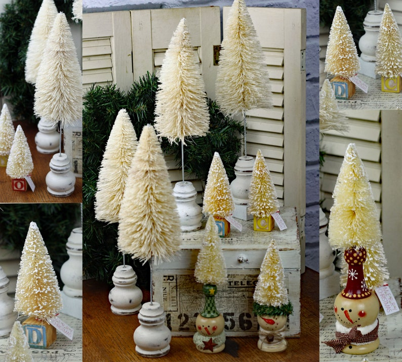 Variety of Vintage Style Bottle Brush Trees Creamy White image 0