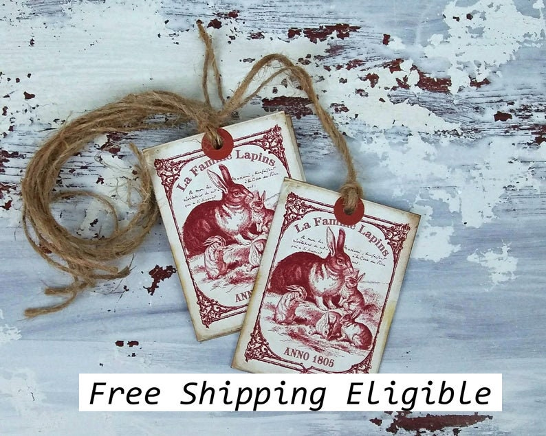 Anno 1805 Prim Rabbit Family Vintage Style Hang Tags Easter image 0