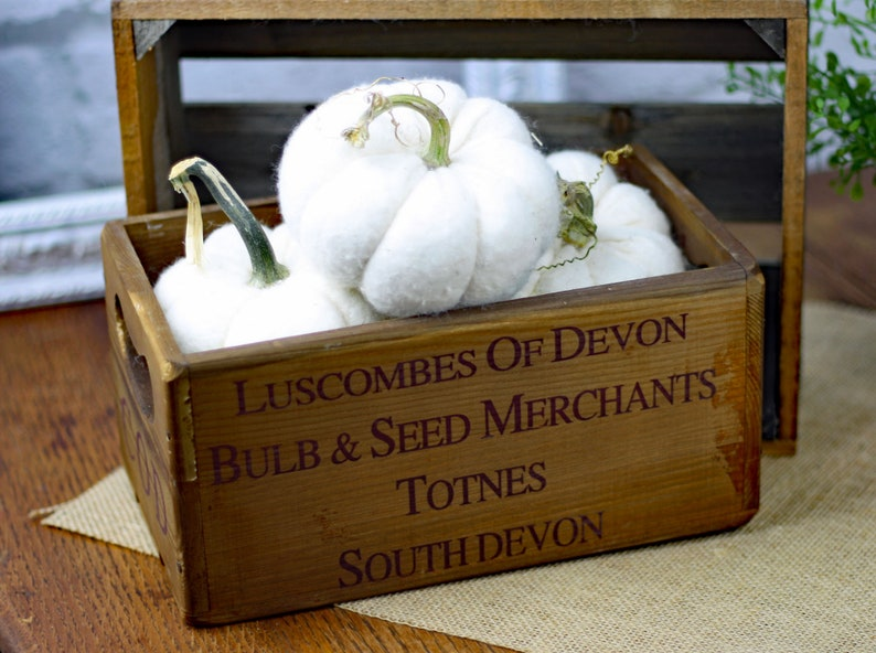 Crate Centerpiece filled with Mini White Fabric Pumpkins Wood image 0