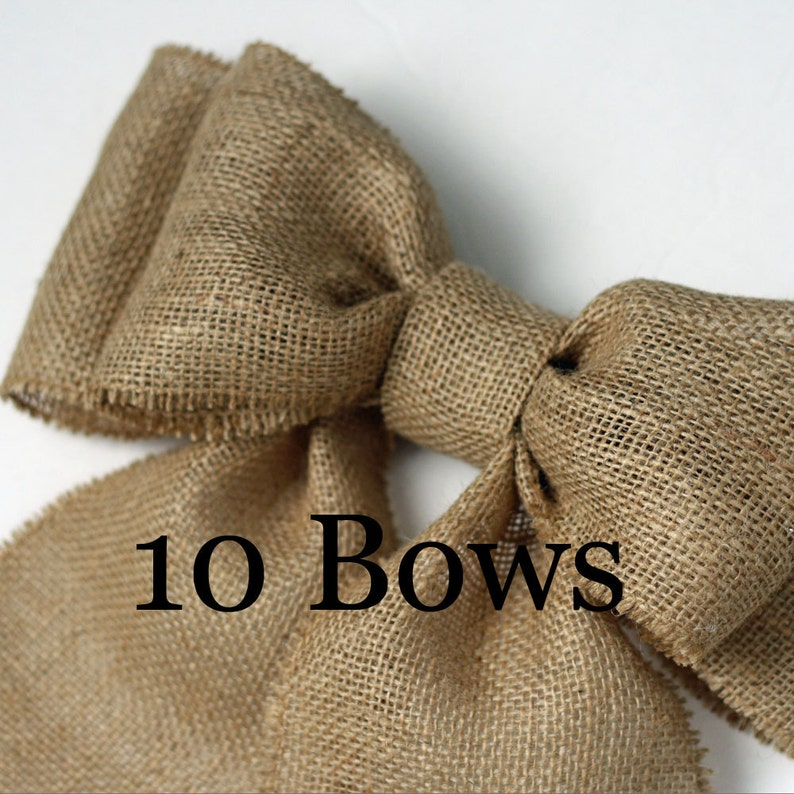 Burlap Pew Bows 10 Natural Burlap 9 Double Bow Set image 0