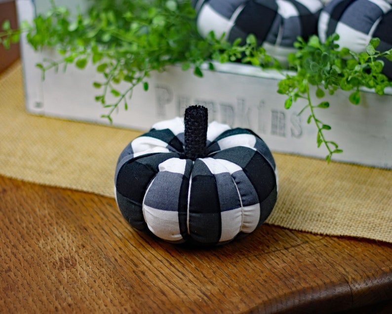 Mini Black and White Buffalo Plaid Fabric Pumpkin One 4 image 0