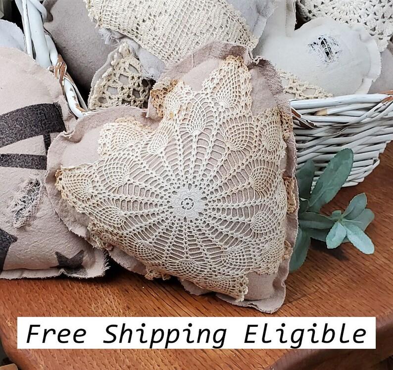 Heart Mini Pillow Antique Crochet Repro Flour Grain Sack image 0