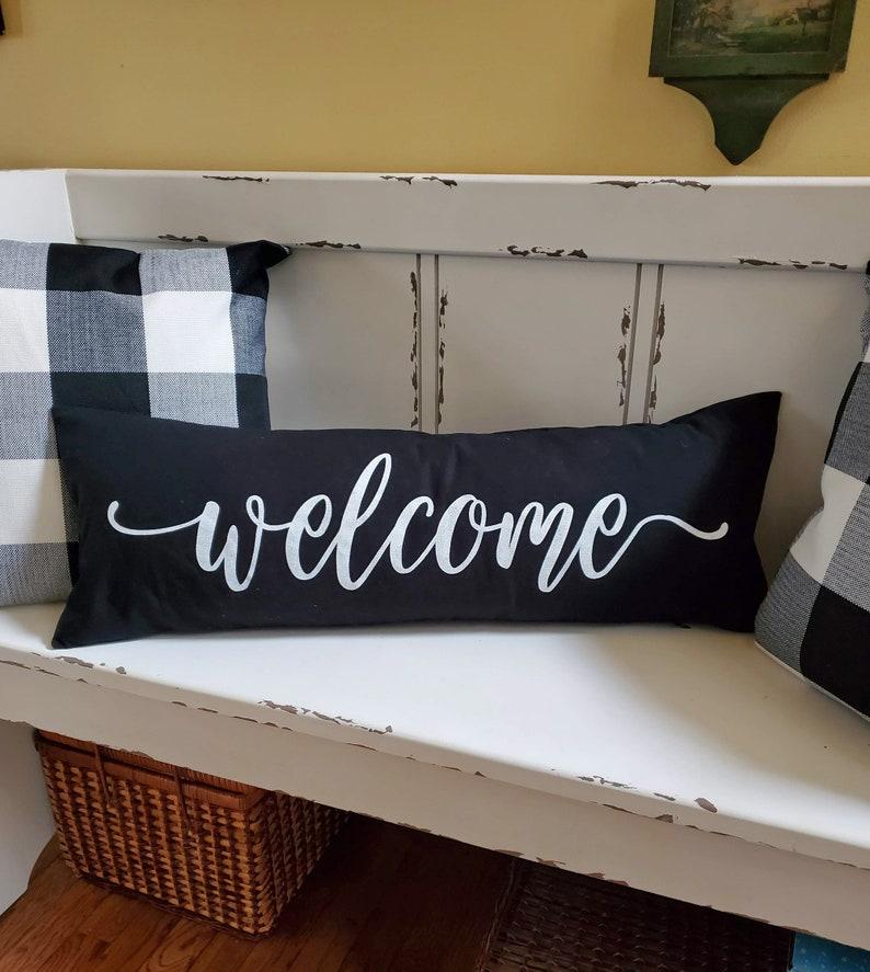 Welcome Pillow Lumbar Bench Long Narrow Cushion Handmade Hand image 0