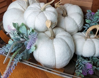 White Pumpkins - Assorted Sizes/Prices  Soft Fabric Natural Look Pumpkins with Real Dried Stems Modern Farmhouse Centerpiece