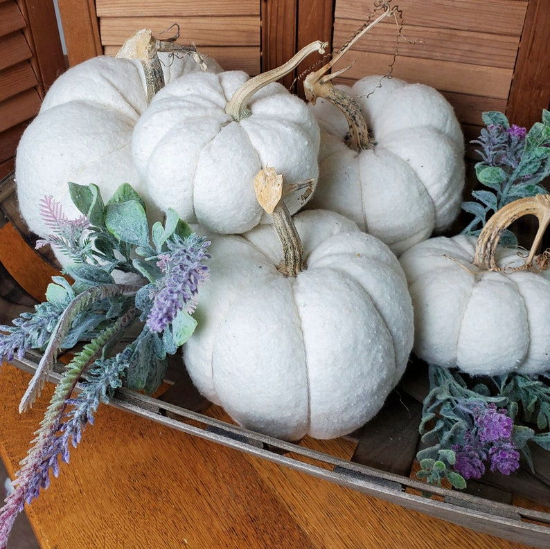 White Pumpkins  Assorted Sizes/Prices  Soft Fabric Natural image 0