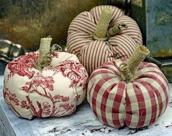 One Red Mini Fabric Pumpkin - Multiple Fabrics Available -  All Handmade