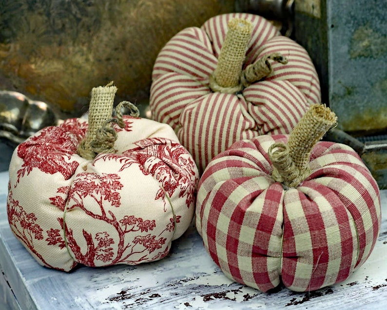 One Red Mini Fabric Pumpkin  Multiple Fabrics Available  image 0