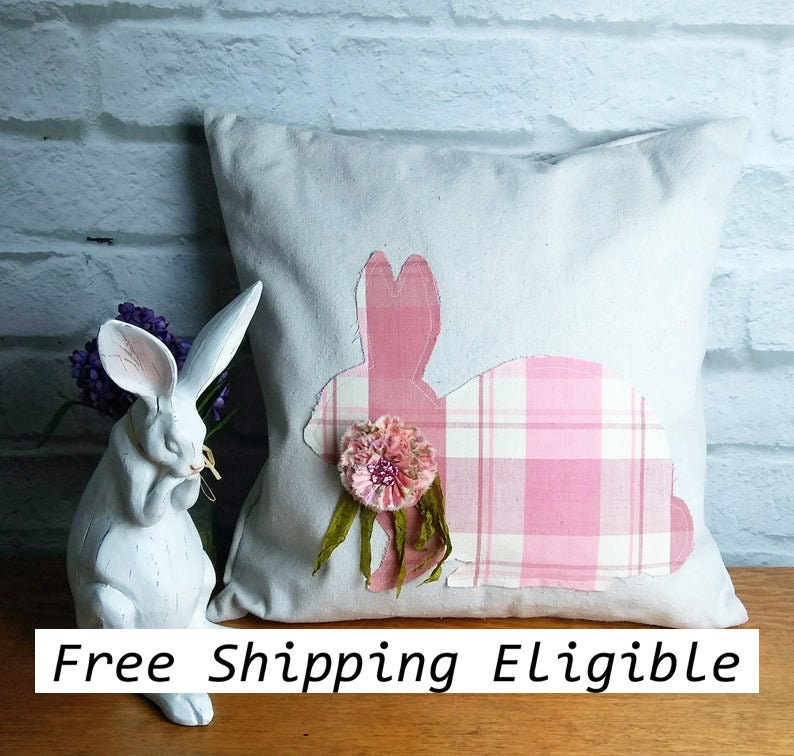 Pink Plaid Rabbit Pillow Cover or Complete Pillow Cotton image 0