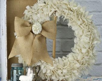 """23"""" Burlap Rag Wreath - Off White - Ready to Ship"""
