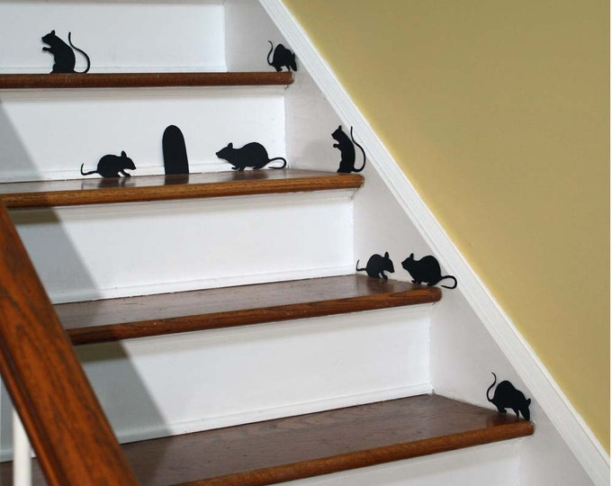 Halloween Decor Wall Decal Creepy Stair Mice with Mouse Hole Removable Vinyl Silhouettes non scary