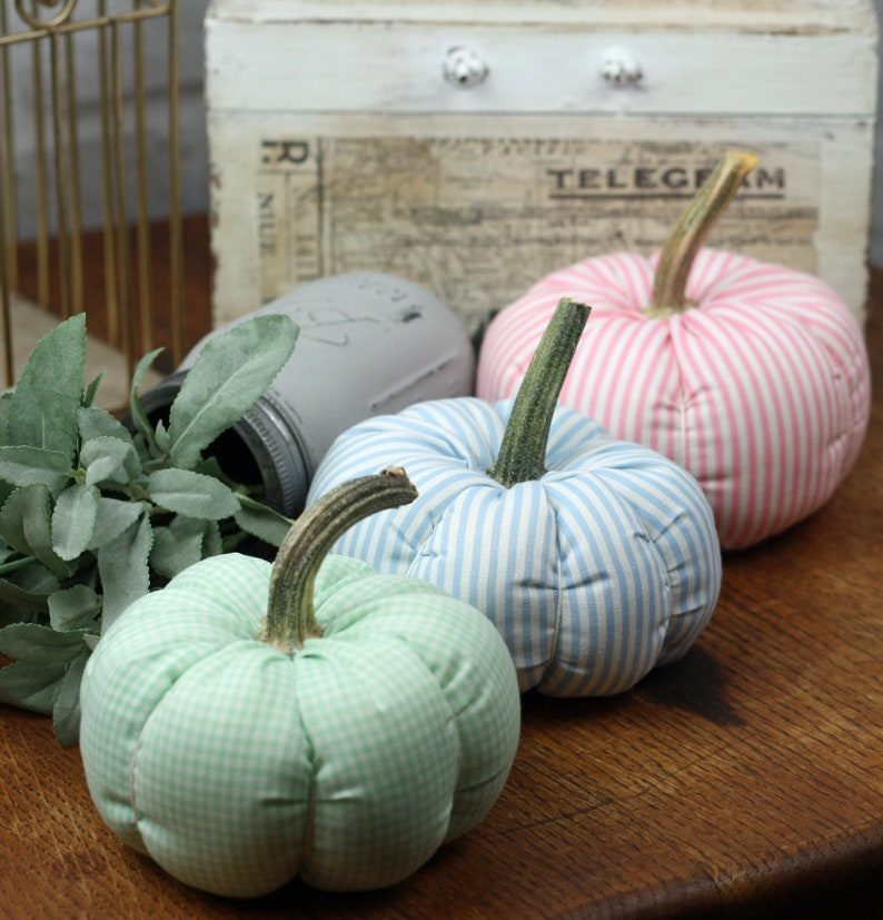 Pastel Fabric Pumpkins Set of 3 with real stems Pink Blue image 0