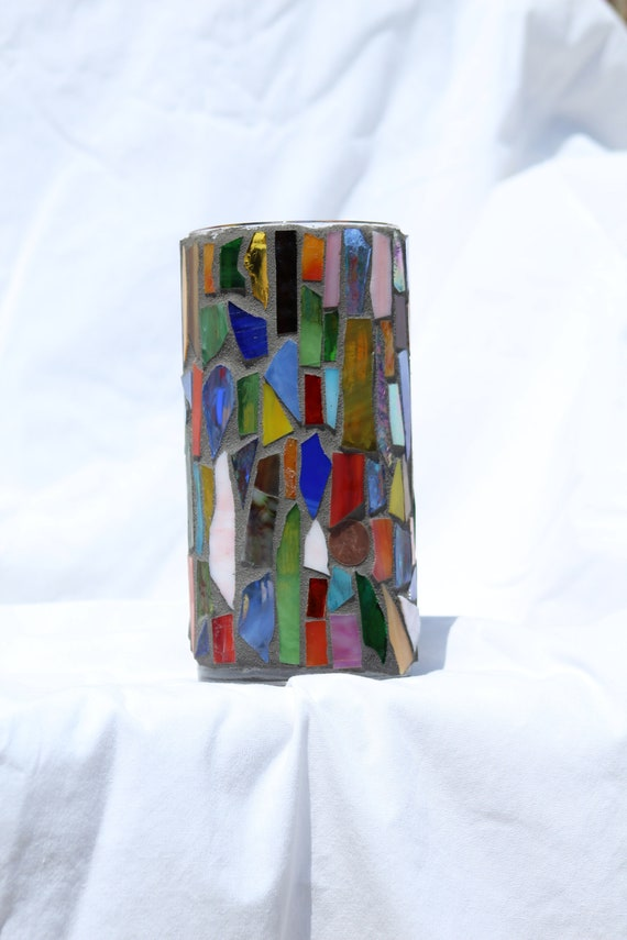 Multi Colored Stained Glass Vase 2 Etsy
