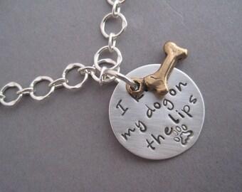 Chain Bracelet - Charm Bracelet - Dog Lover Jewelry - I Kiss My Dog on the Lips - Mixed Metal Charm Bracelet -
