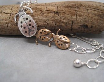 Love Bug Bracelet -Lovebug - Family - Ladybug - Baby Bugs -Lucky - Lady Bug- Charm Bracelet - Mixed Metal - Nature Jewelry - Personalized