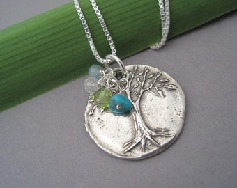 Family Tree Necklace - Tree of Life Pendant - Birthstone Necklace - Family Jewelry - Keepsake Jewelry - Silver Family Tree - Silver Pendant