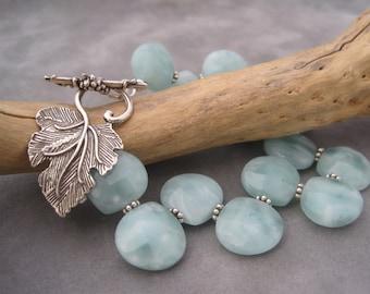 Amazonite Bracelet - Fancy Leaf Toggle - Bracelet - Statement Bracelet - Silver and Amazonite - Grape Leaf - Grapevine - Grape Cluster