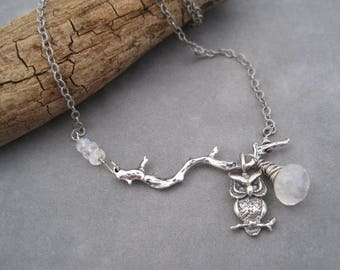 Owl in the Moonlight Necklace -Silver and Moonstone - Nature - Rainbow Moonstone - Asymmetrical Design - Silver