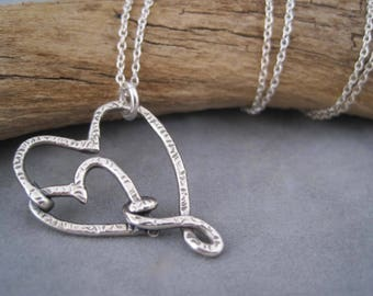 I Carry Your Heart in My Heart - Heart to Heart Necklace -Double Heart Necklace - Love - Heart Jewelry - Metalwork - Sterling - Meaningful