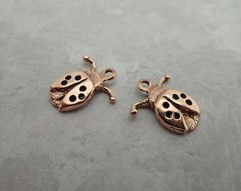 Tiny Bronze Lady Bug Charms - Love Bugs - Lucky - Good Luck Charm - Ladybug Jewelry - New Mom - Lovebug - Spirit Animal
