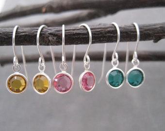 Birthstone Drop Earrings  - Swarovski Channel - Charms - Small earrings - Sparkly