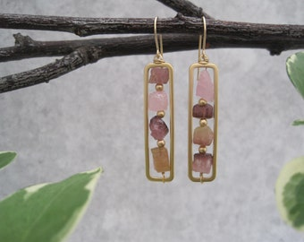 Raw Tourmaline Earrings - Rectangular Windowpanes - Framed- Vertical Style - Birthstone October - Semi Precious Stone - Pink Tourmaline