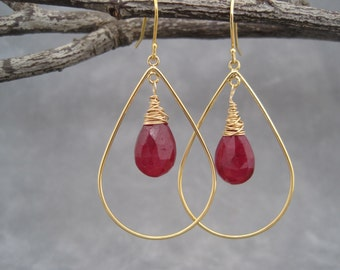 Hoop Earrings - Ruby  Earrings - Gold Hoops - July Birthstone - July Birthday - Deep Fuchsia Ruby and Gold - Faceted Stone