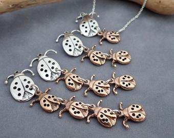 Love Bug Necklace - Baby Bug- Personalized - Meaningful -Mom Jewelry - Lady Bug - Ladybug - Lucky - Mixed Metal -
