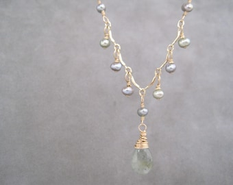 Moss Aquamarine and Pearl Necklace - Dainty - Victorian Style - Y Necklace - Pale Green Gray Blue Stone - Natural
