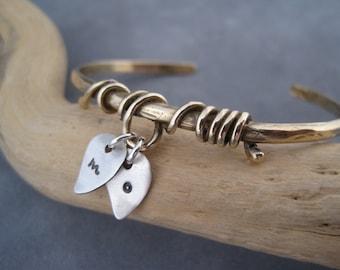 Family Tree Bracelet - Mixed Metal Cuff Bracelet - Personalized Bracelet - Nature Jewelry - Personalized Jewelry