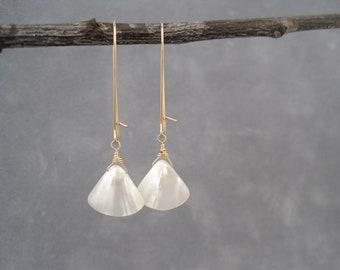 White Earrings - Shell Earrings - Summer - Dangle Earrings - Mother of Pearl - Light,  Bright and White Mother of Pearl  Earrings