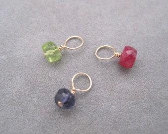 14K Solid Gold  - Tiny Semi Precious Birthstone Drops - Birthstone Jewelry- Semi Precious Stones  - Birthstone Charms