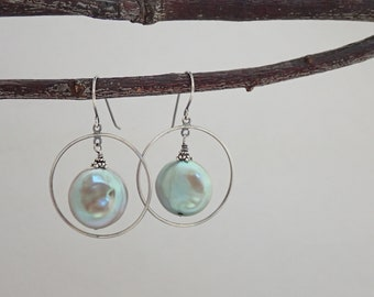 Silver Hoops - Iridescent Pearl - Coin Pearls - Light Green- Oxidized Silver - Hoop Earrings