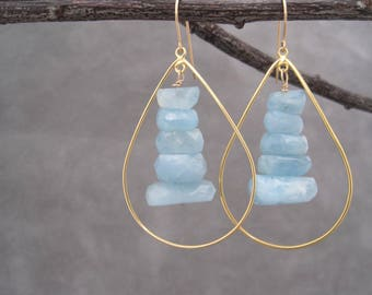 Hoop Earrings - Aquamarine Hoop  Earrings - Gold Hoops - Aquamarine Jewelry - March Birthstone - Blue Aquamarine Earrings - Aquamarine Drops