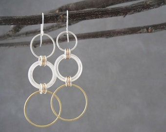 White Earrings - Mother of Pearl - Gold Hoops - Shell - Mixed Metal - Hoop Earrings - White Mother of Pearl  Earrings  Dangle Earrings