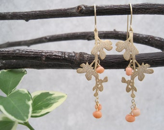 Peach Coral and Matte Gold Branch Earrings - Coral Drops -Light Orange - Branch and Leaves - Nature Trees - Organic -Woodland - Orange