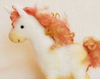Marigold the UNICORN art toy -- handmade felted wool fantasy horse sculpture in green