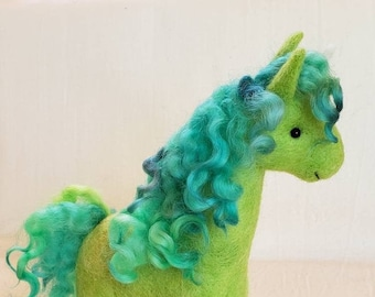 Peridot the UNICORN art toy -- handmade felted wool fantasy horse sculpture in green