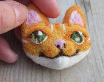 Grey Tabby Needle Felted Cat Head Brooch