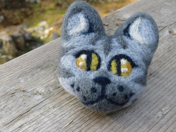 Grey Tabby Needle Felted Cat Head Brooch Etsy