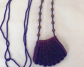 Purple Colored Beaded Pouch Necklace