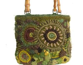 Freeform Crochet Handbag, Medium size crochet Bag, OOAK Women's Handbag Purse in Olive Green Tones