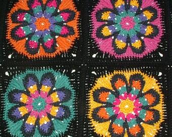 Granny Square Crochet Pattern, Big Flower Afghan Rug Blanket Throw