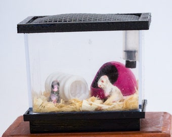 Dollhouse Miniature Flocked Realistic Mouse Mice Rodent Cage and Accessories Hand Made OOAK
