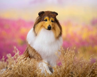 Dollhouse Miniature Sitting Sable Rough Collie Artist Sculpted Furred OOAK Dog 1:12 Scale