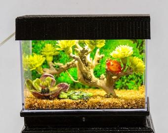 Dollhouse Miniature Reptile Terrarium Frog Lizard Bonsai Tank Aquarium with Electric Mini Plug In Lighted Hood Hand Made OOAK NO STAND