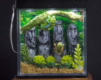Dollhouse Miniature Reptile Terrarium Chameleon Frogs Tank Aquarium with Electric Mini Plug In Lighted Hood Hand Made OOAK NO STAND